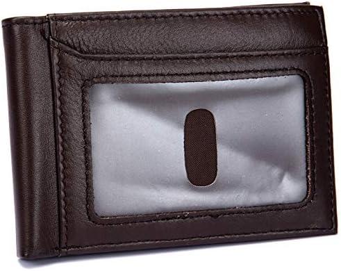 YLB Wallet Men Genuine Leather Man Slim Wallet RFID Blocking Credit Card Holder Zipper Money Coin Purse Pocket Clutch Bags Wallet Money Clip (Color : Black, Size : S) (Color : Brown, Size : Small)