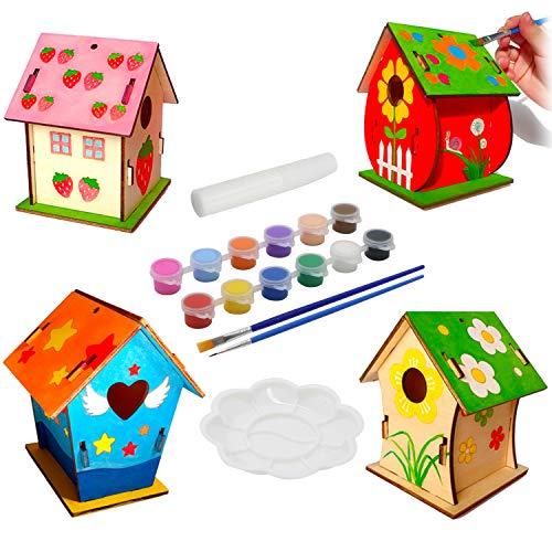 KUWAN Vogelhaus Bausatz Kinder , 4 Stück DIY vogelhaus zum bemalen Kit Vogelhaus Pigment Bemalen Unvollendete Set, Bauen und malen Sie Birdhouse Wooden Arts