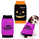 Pedgot 2 Pieces Dog Halloween Sweater Pumpkin Face, Bat Boo Dog Apparel Soft Pet Sweaters Autumn Winter Pet Clothes for Dog Cat Halloween Holiday Supplies, Large