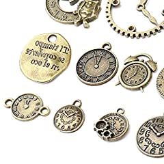 18 Pcs/set Clock Pendant Charms, Multicolored Mixed Antique Bronze Watch Gear Cog Wheel Charms Steampunk Clock Pendant DIY Jewelry Making Accessories #2