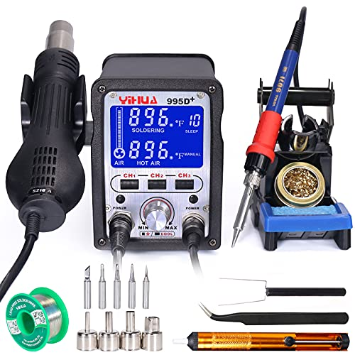 YIHUA 995D+ 2 in 1 Hot Air Rework and Soldering Iron Station with X-2 Soldering Iron holder, 3 Memories, Large LCD Screen Display, Cool/Hot Air Conversion, Sleep Mode, °F /°C conversion, and more