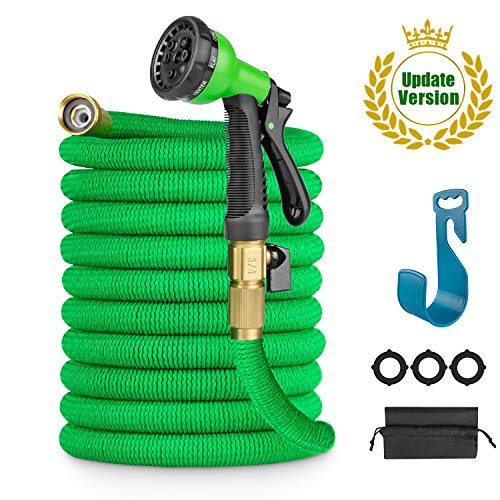LANIAKEA 50ft Garden Hose Expandable Water Hose with Double Latex Core, Solid Brass Fittings, Extra Strength Fabric, Flexible Expanding Hose with 8 Function Spray Nozzle