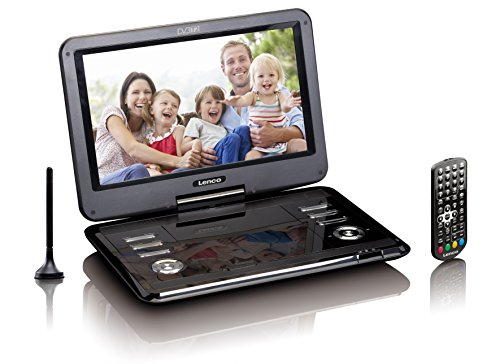 Lenco Tragbarer DVD-Player DVP - DVB-T2 Empfänger - 12 Zoll DVD-Player mit Fernseher - DVB-T2 Tuner - integrierter Li-Ionen Akku - 12 Volt KfZ Adapter - Antenne - Fernbedienung - Schwarz, DVP-1273