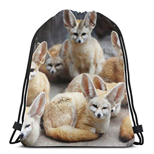 EU Mignon Fennec Fox Animal Sac à dos avec cordon de serrage Sac à dos de gym Sac à bandoulière