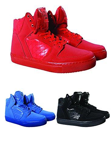 DJ White Bootleg 02 high top Sneakers/Schuhe Rot, Blau & Schwarz (44, Rot)