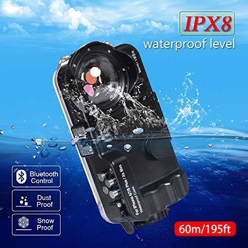 BECEMURU iPhone Bluetooth Waterdichte Gesealde Case 60m/195ft Professionele Onderwater Foto Video Waterdichte Duiken Zwemcase met 120 Wijde Hoek Lens voor iPhone 6/7/8Plus/Xs Max(Zwart)