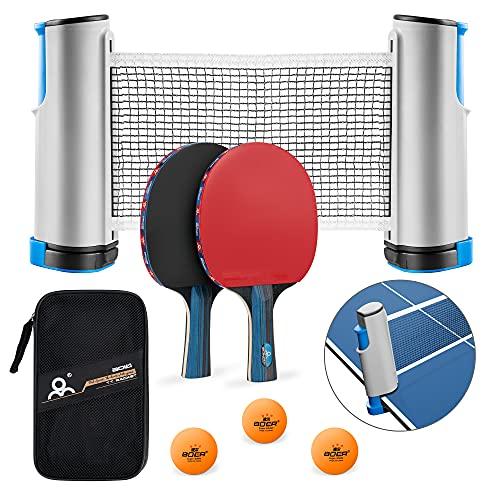 PGFUNNY Tischtennis Set,2 Tischtennisschläger,Tragbarem Einziehbarem Tischtennisnetze,3-Stern Ping-Pong Bälle,Ideal für Anfänger, Amateure,Profis,Drinnen Oder Draußen