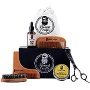 Beard Grooming Kit for Men | All-In-One Mens Hair Care Kit |Sculpt, Style & Shape Your Beard| Moustache & Beard Growth Oil | Boar Bristle Brush | Balm Butter |Wooden Combs| Professional Barber Scissor