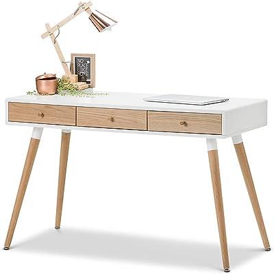 L3 Home Einar 3 Drawer Office Writing Desk, White/Oak