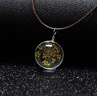 Round Necklace for Women Glass Clover Dry flower Necklace for Girls Yellow