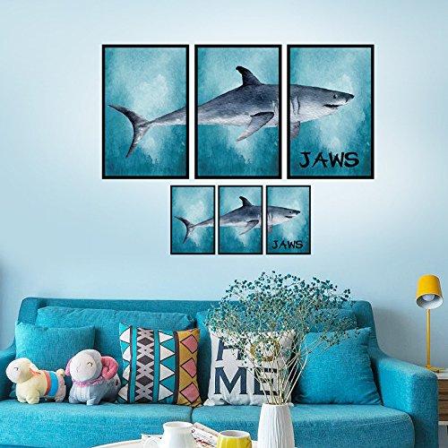 Creatieve Grote Witte Haai fotolijst Decoratie Plakken Porch Bank Slaapkamer Woonkamer Bed Achtergrond Decoratieve Muurstickers