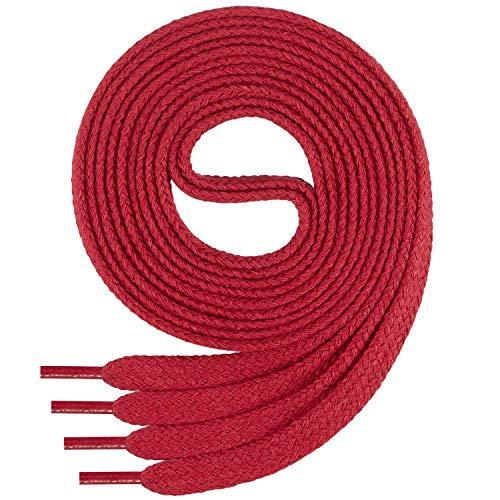 Di Ficchiano Flache SCHNÜRSENKEL aus 100% Baumwolle für Sneaker und Sportschuhe - sehr reißfest - ca. 7 mm breit-red-80