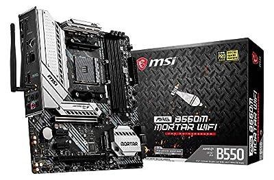 MSI MAG B550M MORTAR WIFI Motherboard mATX, AM4, DDR4, Dual M.2, LAN, 802.11ax WiFi 6 + Bluetooth 5.1, USB 3.2 Gen2, Front Type-C, Mystic Light RGB, HDMI, DisplayPort, AMD RYZEN 3000 3rd Generation