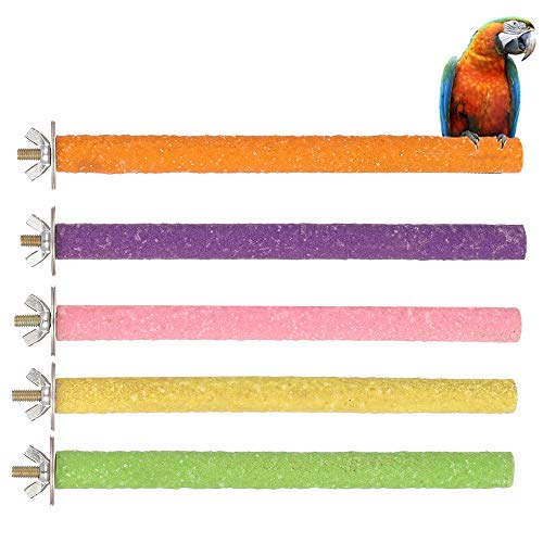 Xinzistar 5 Pezzi Posatoi Pappagalli Giochi per Pappagalli Uccello Giocattolo di Masticare Domestico Piattaforma Pulizia della Zampa Giocattoli di Pappagallo
