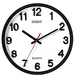 OCEST Wall Clock, 12'' Silent Non Ticking Quartz Decorative Clocks Big 3D Stereoscopic Numbers Large Display Indoor Outdoor Clock - Modern Style Suitable for Home Kitchen Office
