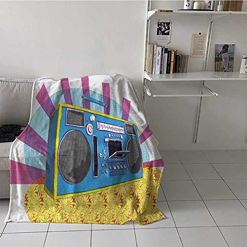 Bed Blanket 70s Party Bed Blanket Microfiber Retro Boom Box in Pop Art Manner Dance Music Colorful Composition Artwork Print Best Gift for Women, Men, Kid, Teen Multicolor 50x60 Inch