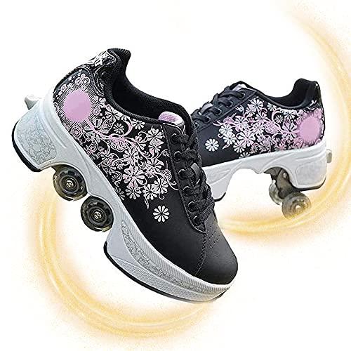 JZIYH Zapatos con Ruedas para Niños Y Niña, Automática De Skate Zapatillas con Ruedas Zapatos Patines Deportes Al Aire Libre De Deporte Zapatos