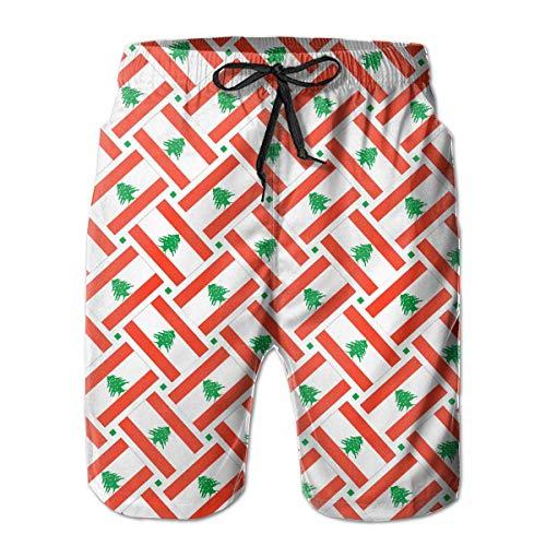 Bai Qian Pantalones Cortos de Tabla de Playa de Secado rápido Trunks Swim Trunks para Hombre con Panel de Malla y Forro de Malla M