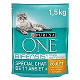 Purina One Spécial Chat de 11 ans et +-au Poulet et aux Céréales Complètes - 1,5kg - Croquettes pour Chat âgé de 11 ans et Plus - Lot de 6