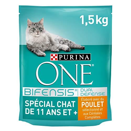 Purina One Spécial Chat de 11 ans et + - au Poulet et aux Céréales Complètes - 1,5kg - Croquettes pour Chat âgé de 11 ans et Plus - Lot de 6