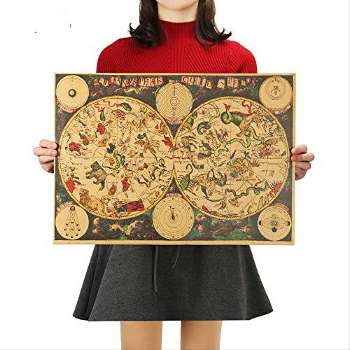 Vintage Style Retro Kraftpapier Poster Geschenke Ancient Zodiac Constellation Map Poster Wandaufkleber 51,5x36cm