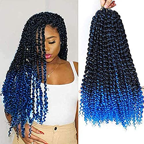 Passion Twist 6 Packs Twists Spring Twists Handmade Bomb Twists Pre Looped Crochet Braid Hair Extensions Ombre Blue Color Choose Length (6pack TBlue)