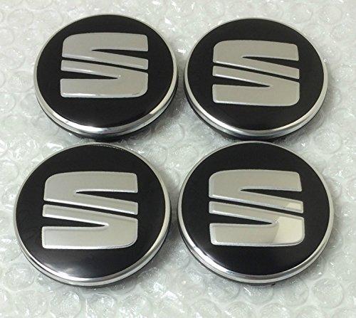 4 x SEAT plata negro logotipo insignia emblema 56 mm rueda centro tapacubos tapas