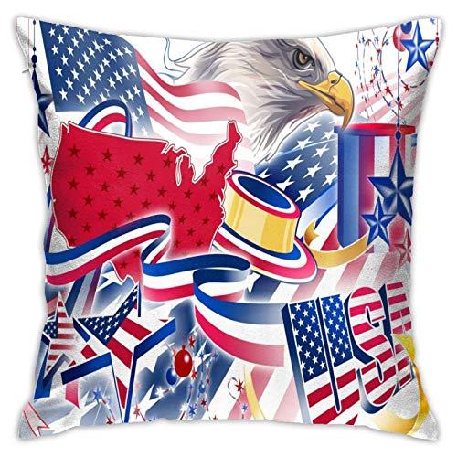JONINOT Doble Cojines Fundas 18' Águila Bandera Americana Funda de Almohada Suave para la Piel
