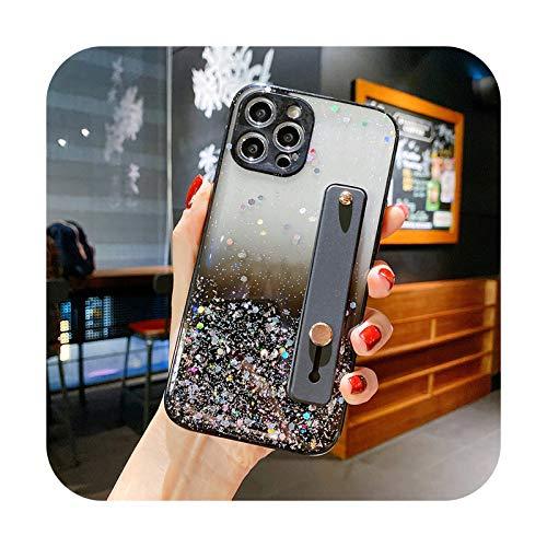 Funda para teléfono con correa de muñeca con purpurina para iPhone 12 11Pro Max XR XS Max X 7 8 Plus 12Mini 12Pro Bling Lentejuelas Gradient Clear Soft Cover-T3-para iPhone 8 Plus
