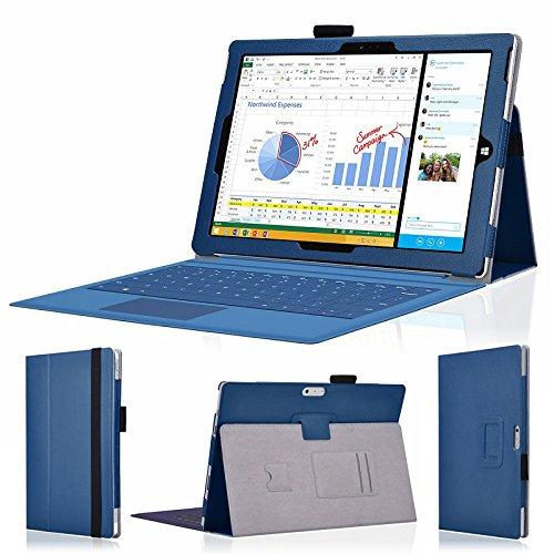 wisers 保護フィルム・OTGケーブル・タッチペン付 Microsoft Surface Pro 3 専用 上質 ケース カバー ダークブルー