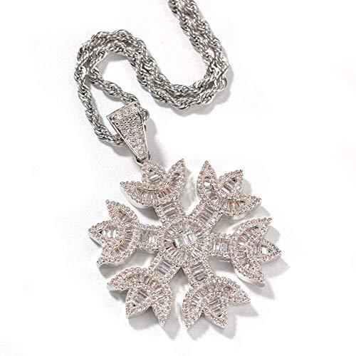 NC110 Copo de Nieve de Cristal de Diamante con Incrustaciones de Micro circón Colgante, Collar Estilo ilver para Hombres y Mujeres, joyería de Pareja Popular, Oro, Plata, YUAHJIGE