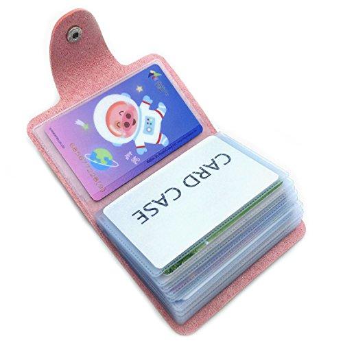 Tarjetero Para Tarjeta de Crédito Para Hombre Mujer - 24 Tarjetas (Rosa)