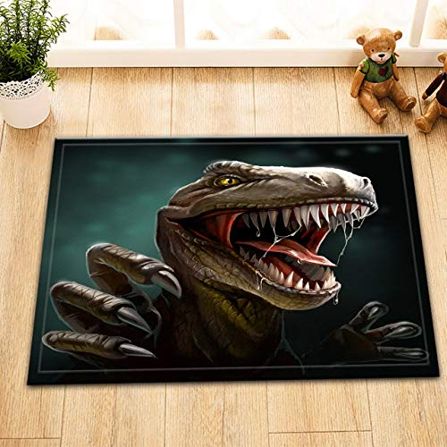 taquxinlaowan 100prozent Polyester Stoff Dinosaurier mit Zähnen & Krallen Duschvorhang Badezimmer Matte