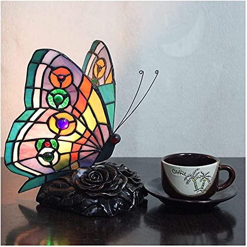 YHQKJ Lámpara de Mesa Tiffany, lámpara de Mesa de Mariposa Creativa Pastoral de Manchas, luz Nocturna for niños for Sala de Estar Decorada