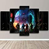Cuadro de Arte de Pared Modular Lienzo impresión HD decoración del hogar 5 Piezas Cartel de caracteres Pintura para Sala de Estar Marco de póster 150 x 80 cm con Marco
