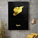 QAQTAT Goldene Karte Syrien Poster Leinwand Gemälde