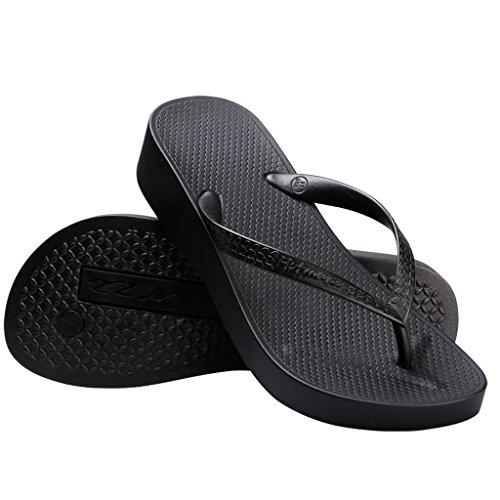 Hotmarzz Chanclas para Mujer Zuecos Sandalias Plataforma Cuña de Verano Playa Size 40 EU, Negro