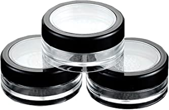 6 Pcs 10g 10ml Empty Plastic Clear Makeup Jar Cosmetic Cream Face Powder Blusher Foundation Container Pots With Sifter And Black Rimmed Lid