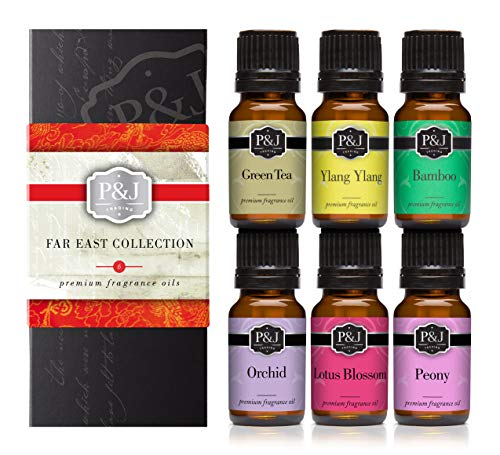 Far East Set of 6 Premium Grade Fragrance Oils - Ylang Ylang, Green Tea, Lotus Blossom, Orchid, Bamboo, Peony