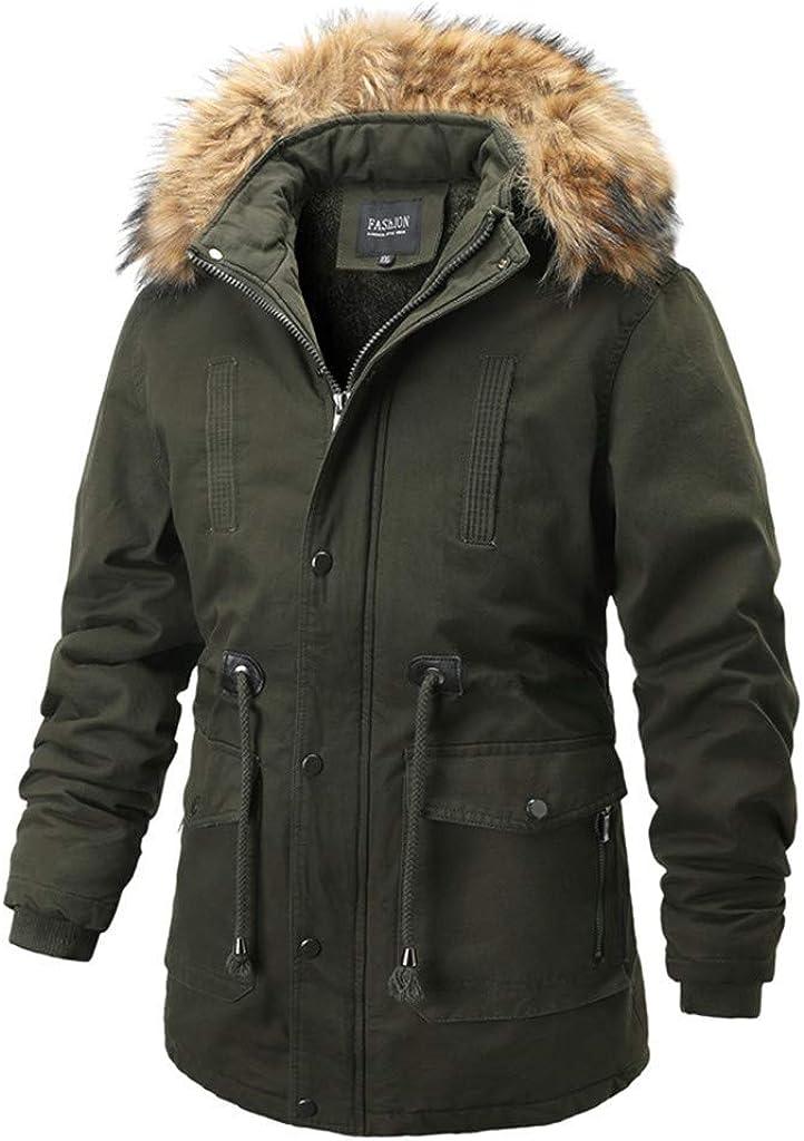 Men's Warm Winter Coat with Fur Hood Windproof Lightweight Plus Size Soft Outwear Jacket