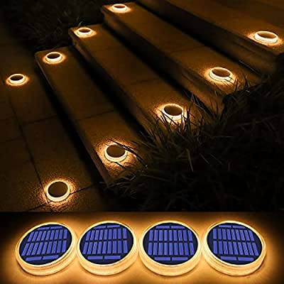 Solar Deck Light, Big Solar Charging Panel, 24 LEDs, Warm White Dock Light for Step, Pathway, Driveway, Garden, 4 Pack