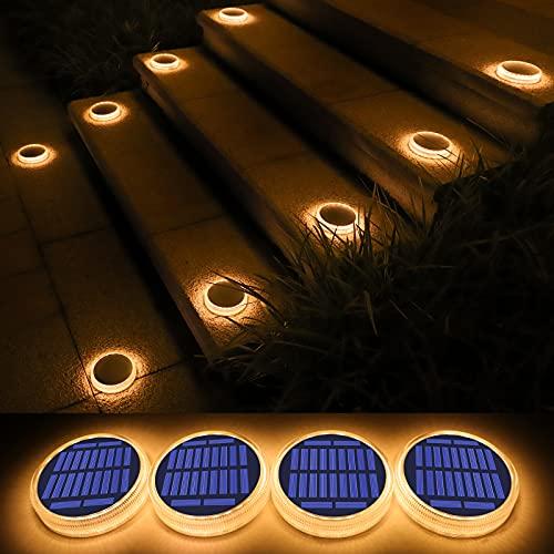 Luces Deck Solares Exterior, Lámpara Solar Jardin 24 LED 360°Iluminación IP68 Impermeable Auto ON/OFF Luz Solar del Piso para Step, Garaje, Camino, Dock Entrada Calle Valla - Blanco Cálido - 4 Pack