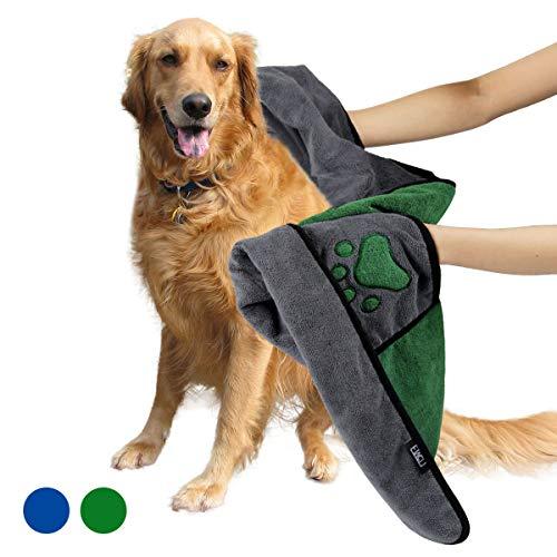 ETACCU Albornoz para Perros, 70 * 100 CM Toalla de baño de Microfibra Toalla para Perros, Accesorios de baño para Mascotas para Limpiar Perros, Gatos y Mascotas (Verde)