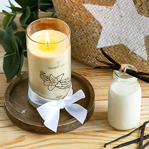 JuwelKerze Creamy Vanilla, große Duftkerze (Vanille, 1020g, 95-125 Std. Brenndauer) in Beige mit 925er Sterling Silber Schmuck, Armband