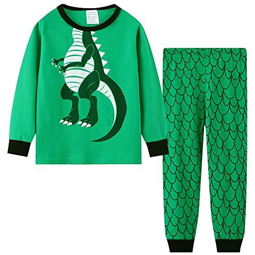 Toddler Boys Pajamas Sets Kids Pjs Sleepwear Cotton Solid Sweatshirt Long Sleeve Tops & Pants Outfits 2 Piece clothing sets Green+ Dinosaur 6-7 Years