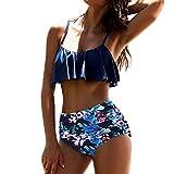 Traje De Baño De Mujer, RETUROM 2018, Ropa de Playa Bikinis de Cintura Alta para Mujeres (L, Azul)
