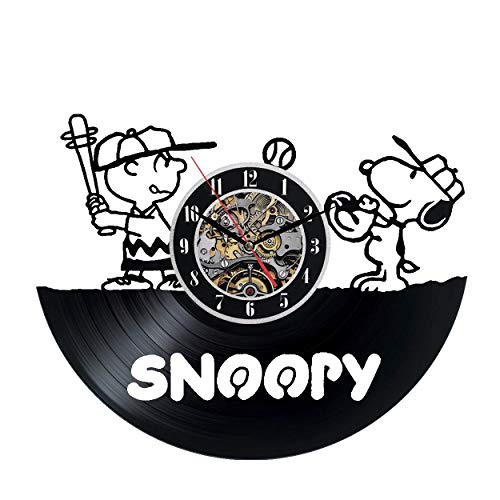 Meet Beauty Reloj de Pared Vinilo Mickey Mignon Snoopy Navidad Decorativo y Regalo para niños–Hecho en la Main-décoration única para el Arte de la casa (Redondo Negro de 30cm)