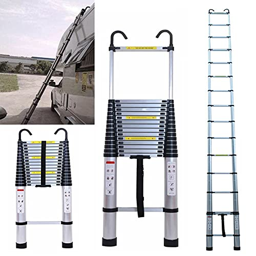 20.34 FT Aluminum Telescoping Ladder with Detachable Hook Extension Ladder Extendable Step Climb Button Retraction Telescopic Compact Ladders for Home Garage Kitchen Clean 330 Pound Capacity