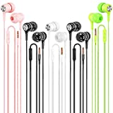 Earbuds Earphones Wired Headphones 5 Pack, Earbuds with Microphone Earbud In-Ear Headphones Noise Canceling Wired Earphones Compatible with iPhone, Android Phones, iPod, iPad, MP3 Fits Most 3.5mm Jack