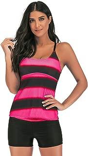 Zlolia Women's Stripe Sling Tankinis Swimsuit Two-Piece Sleeveless Vest High Waist Swimwear Summer New Beach Surfwear